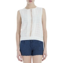 Max Studio Womens Pintuck Pleat Lace Inset sheer Tank Top Blouse - $17.29