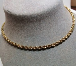 14K Yellow Gold on Sterling Silver Danecraft 3.9mm Rope Chain Necklace 2... - $64.35