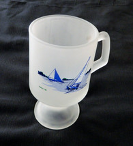 Tiara '86 Indiana Glass Footed Frosted Coffee Mug Sail Boats depicted Lake Ocean - $9.89