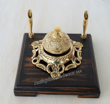 BRASS SERVICE BELL WITH  PEN HOLDERS WOOD BASE COUNTER CALL OFFICE VINTA... - $64.45