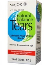 Major Natural Balance Tears Eye Drops 1/2oz  Sterile Lubricant - $5.83
