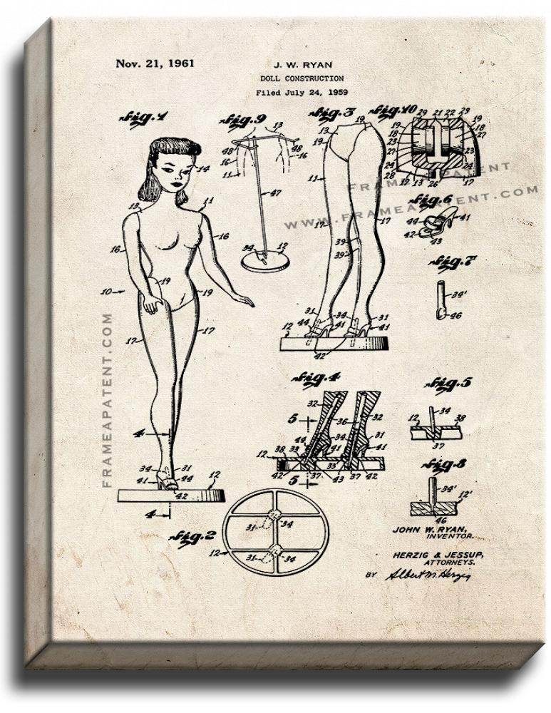 Primary image for Barbie Doll Patent Print Old Look on Canvas