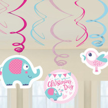 6 Pink Girl's Baby On Your Christening Day Party Hanging Swirl Decorations - $3.82
