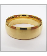 Stainless Steel Stamped Gold Diamond Cut Edge Ring 8mm,  - $19.98