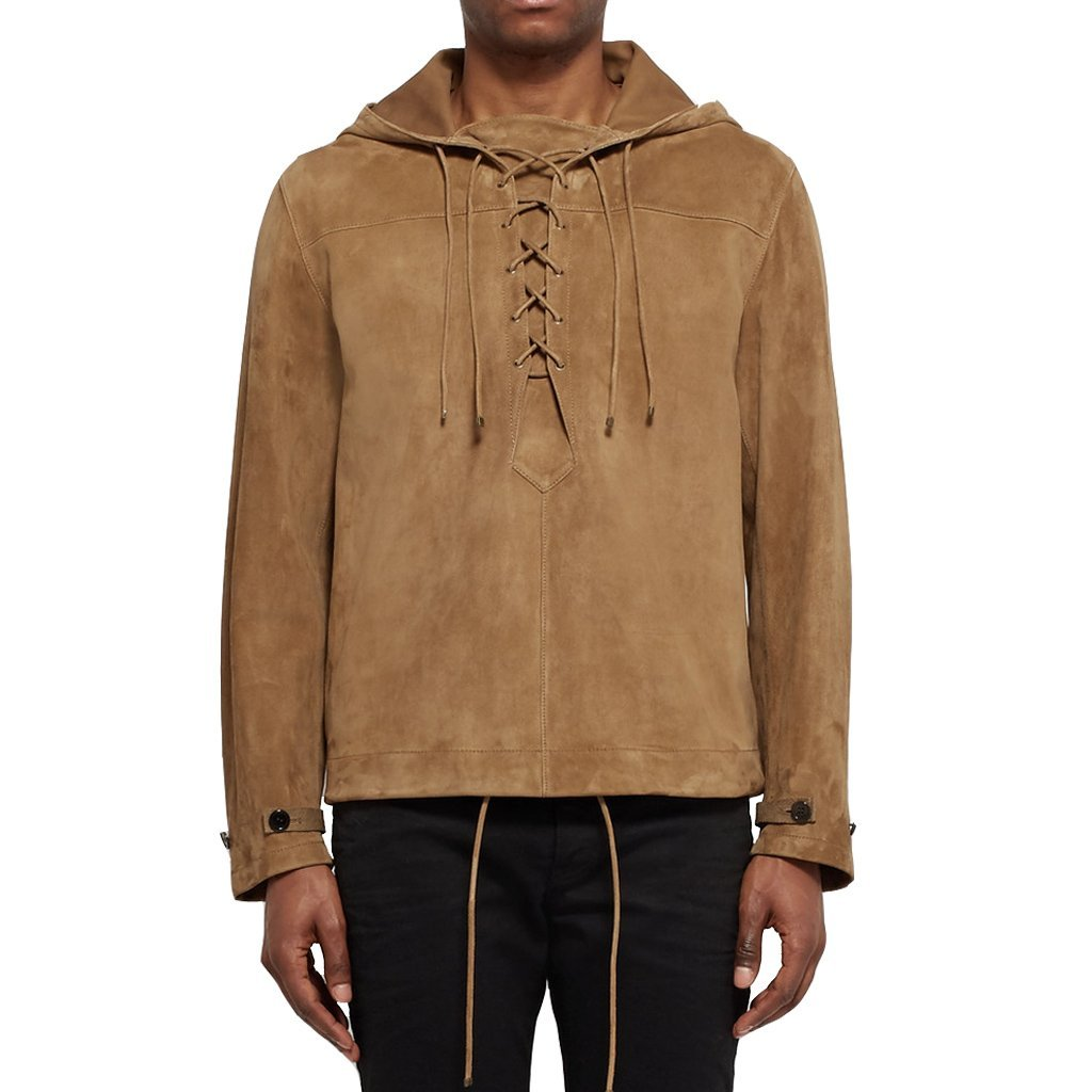 Men Hooded Suede Leather Jacket