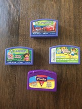 (4) LEAP FROG LEAPSTER GAME Lot Disney Cars Go Diego Dora Camping Adventure - $9.89
