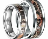 His and Her Tungsten Camouflage Hunting Inlay Engagement Wedding Band Ring Set