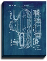 Insulated Military Tank Patent Print Midnight Blue on Canvas - $39.95+