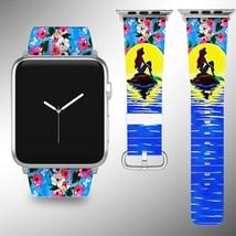 Little Mermaid Disney Apple Watch Band 38 40 42 44 mm Fabric Leather Strap 01 - $24.97
