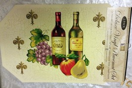 """Set Of 2 Kitchen Vinyl Non Clear Placemats (18""""x12"""") Fruits & Wine Bottles By Bh - $9.89"""