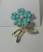 "60's Sarah Coventry ""Aqua Fleur"" Turquoise Beaded Flower Brooch Pin - $12.86"