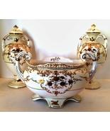 Red Letter Japan Urns Footed Bowl 3 Piece Set Gold Floral Design White C... - $153.45