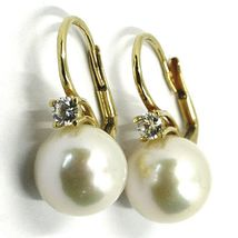18K YELLOW GOLD LEVERBACK EARRINGS, BIG FRESHWATER PEARLS 12 MM, CUBIC ZIRCONIA image 3