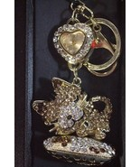 Figaro sleeping Kitty Keychain heart Watch goldtone crystals purse bling... - $47.77