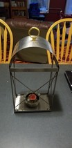 vintage MADE IN USA large hanging stainless and copper candle holder sconce - $19.80