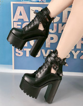 9BS022 Sexy 15 cm ankle wedge sandals, thick sole,size 4-8,black - $58.80