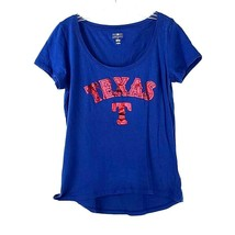 Genuine Texas Rangers Shirt Women's Size Large Blue Red Print Jersey MLB WS1 - $16.82