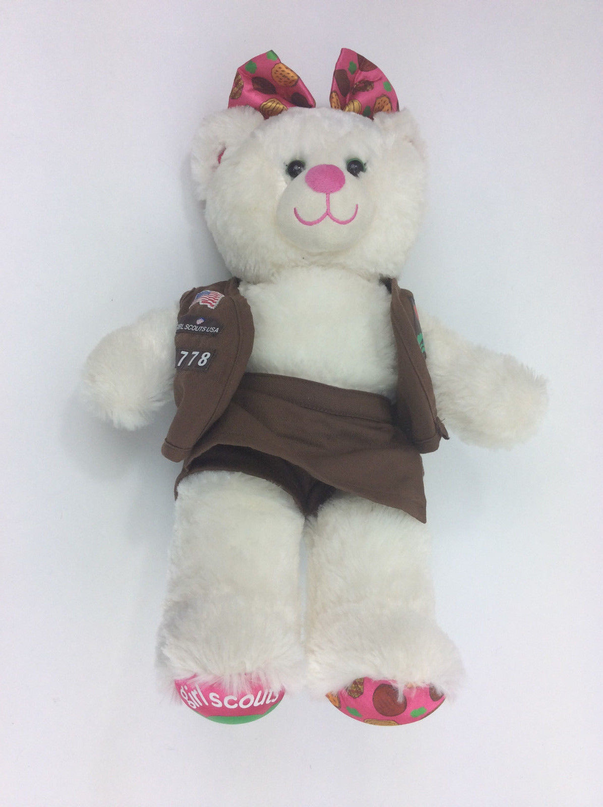 Build A Bear Girl Scouts White Vest  Skort Bow Pink Plush Stuffed Animal 18""