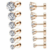 Studs Earrings Set with Big Zirconia Stainless Steel for Women Fashion J... - $9.99