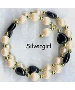 Hearts and Pearls Beaded Wire Wrap Bracelet Black Cream - $23.99