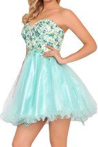 Mint Embroidery Homecoming Dresses Sweetheart Short Beaded Tulle Prom Dress 2018 - $132.00