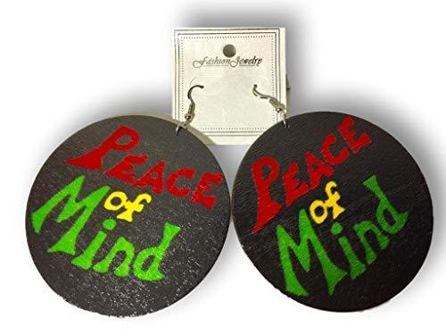 Primary image for Afrocentric Wooden Peace of Mind Rasta Earrings