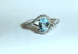 925 Sterling Silver Natural Aquamarine And Cz Gemstone Artistic Design Handmade  image 1