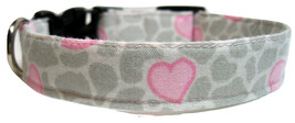 Pink heart dog collar on grey and white background, 1 inch wide M dog collar - $13.00