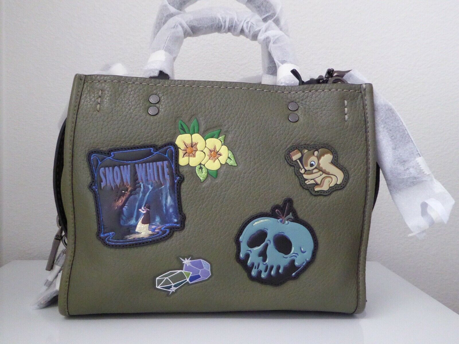 Primary image for New Coach X-Disneys Dark Fairy Tales Snow White Rogue 25 Army Green Handbag