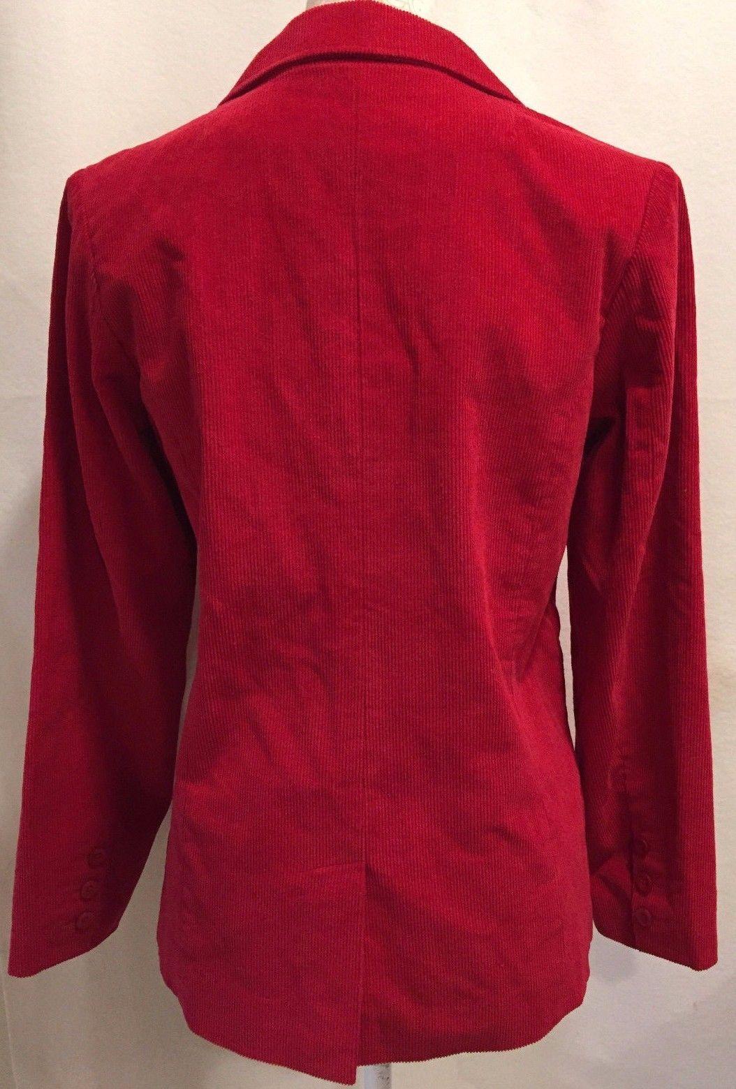 DENIM & CO WOMEN RED CORDUROY LONG SLEEVE JACKET COAT SIZE XS X-SMALL
