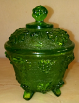 Old Green Glass Container W/ Lid Grape Vine Designs  - $49.99