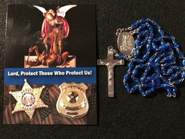 Police Officer Blue Rosary with St. Michael (patron saint of law enforce... - $12.95