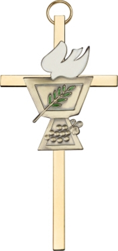 Primary image for Confirmation Chalice Wall Cross - Gold on Gold