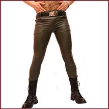 "Custom Men's Khaki Skin Tight ""Wet Look"" Zip Up Stretch Faux Latex Leather Pants"