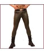 "Custom Men's Khaki Skin Tight ""Wet Look"" Zip Up Stretch Faux Latex Leath... - $98.95"