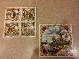 Vintage Colored Mosa Holland Decorative Windmill & Woodmen Tiles, Set of 2 - $20.00