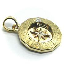 18K YELLOW GOLD ZODIAC SIGN ROUND 22mm DIAMOND PENDANT WIND COMPASS ZODIACAL image 5