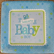 """Welcome Baby BOY Blue Train Baby Shower Party 10 1/4"""" Square Banquet Plates - $9.74"""