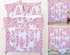 Indian Red Mandala Queen Tapestry + Curtain + Duvet Cover Set + Bedsheet... - $79.93