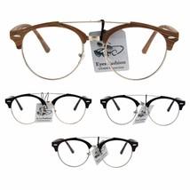 Mens Retro Hipster Half Horn Rim Clear Lens Eyeglasses - $9.95