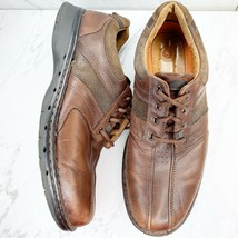 Clarks Unstructered Brown Leather Lace Up Sneakers Shoes Size 14 Mens - $25.17