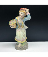 PORCELAIN FIGURINE STATUE antique maiden flower basket wine maker Italy ... - $45.54