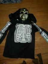 boys costume skull shirt w grim reaper hooded mask sz boys 10-12 - $5.52
