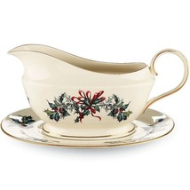 Lenox Winter Greetings Gravy Boat & Stand Sauce Boat Ivory China Christmas USA N - $155.00