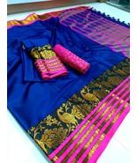 Designer Cotton Silk Saree Multicolor Sari Indian Ethnic Silk Sari Cotto... - $44.99