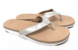 UGG Australia Lorrie Metallic Silver Leather Sandals 1019864 Silver Flip... - $69.99