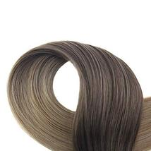 Easyouth 16inch Ombre Hair Extensions Tape in Real Hair Color 2 Darkest Brown Fa image 4