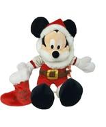 DISNEY CHRISTMAS MICKEY MOUSE SANTA STUFFED ANIMAL PLUSH TOY HOLIDAY STO... - $45.82