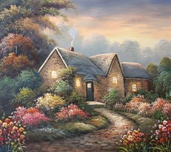 Country Cottage Glow 20 x 24 original oil painting on canvas - $79.19