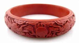 Vintage 1940s 50s Chinese Hand Carved Cinnabar Two Dragons & Pearl BRACELET - $147.99
